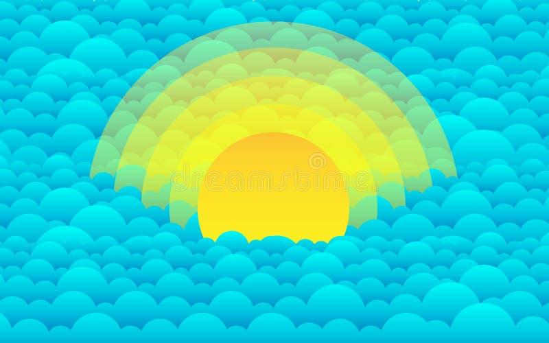 Zmierzch w chmurach lub morzu Abstrakcjonistyczny wektorowy obrazek ilustracji