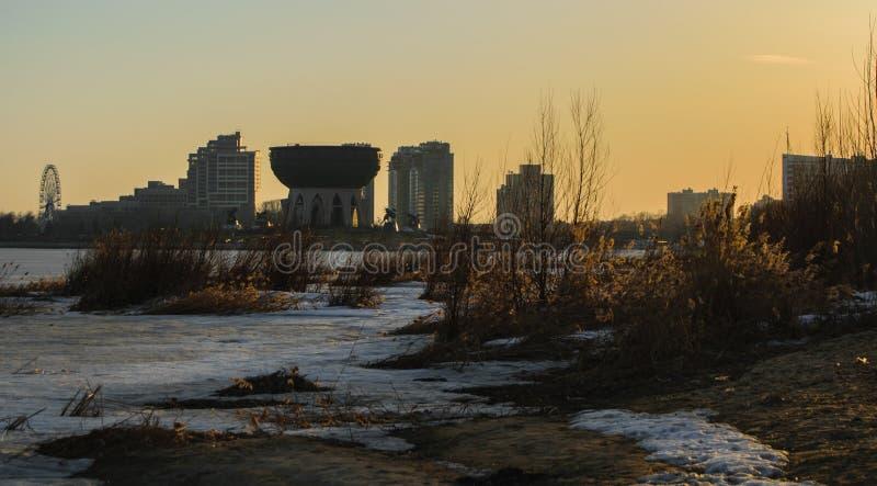 Zmierzch w dużym mieście: Kazan, Rosja zdjęcie royalty free
