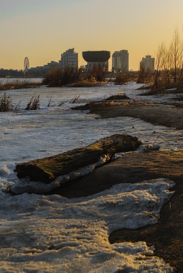 Zmierzch w dużym mieście: Kazan, Rosja zdjęcie stock
