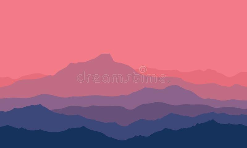 Zmierzch w górach ilustracji