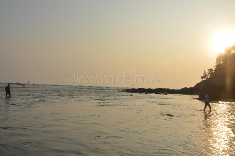 Zmierzch w Goa, ocean indyjski obraz stock