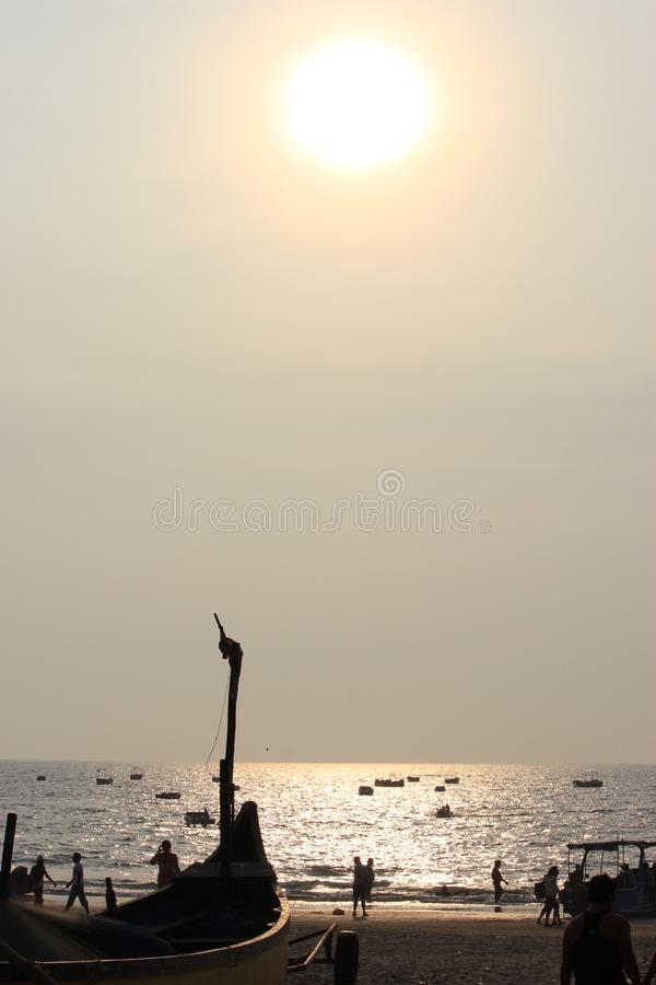 Zmierzch w Goa, ocean indyjski fotografia stock