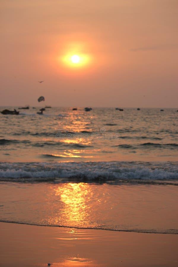 Zmierzch w Goa, ocean indyjski obrazy royalty free