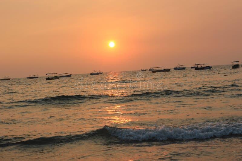 Zmierzch w Goa, ocean indyjski obrazy stock