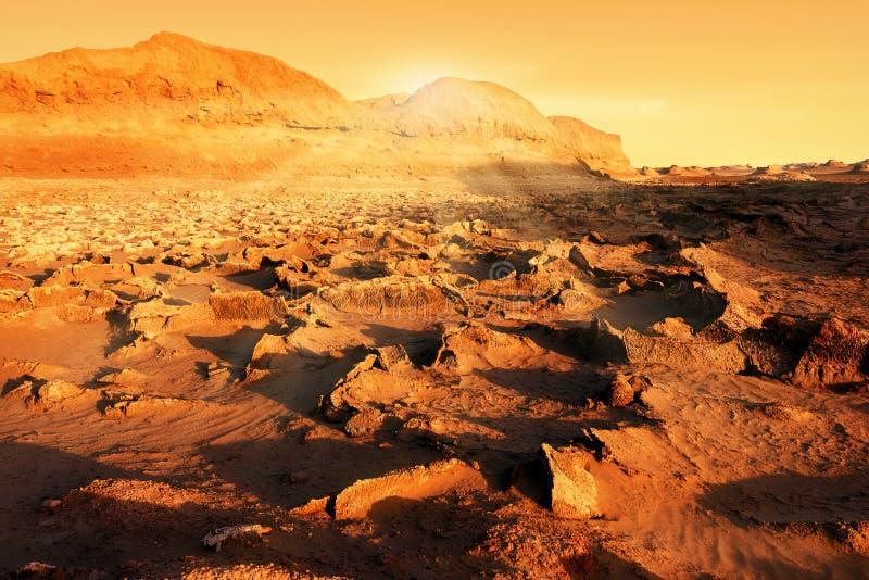 Zmierzch w junakowania Lutu pustyni susza Zmiana klimatu na ziemi fotografia stock