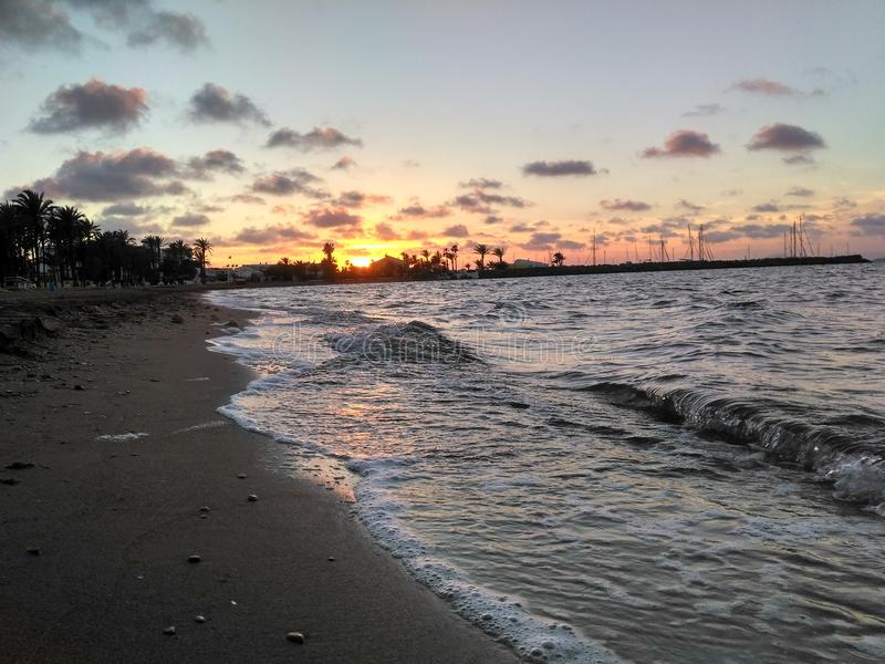 Zmierzch w Mar De Cristal obrazy royalty free