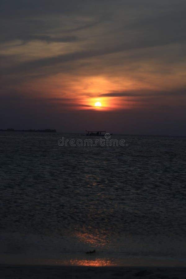 Zmierzch w Menjangan wyspie Karimunjava fotografia stock