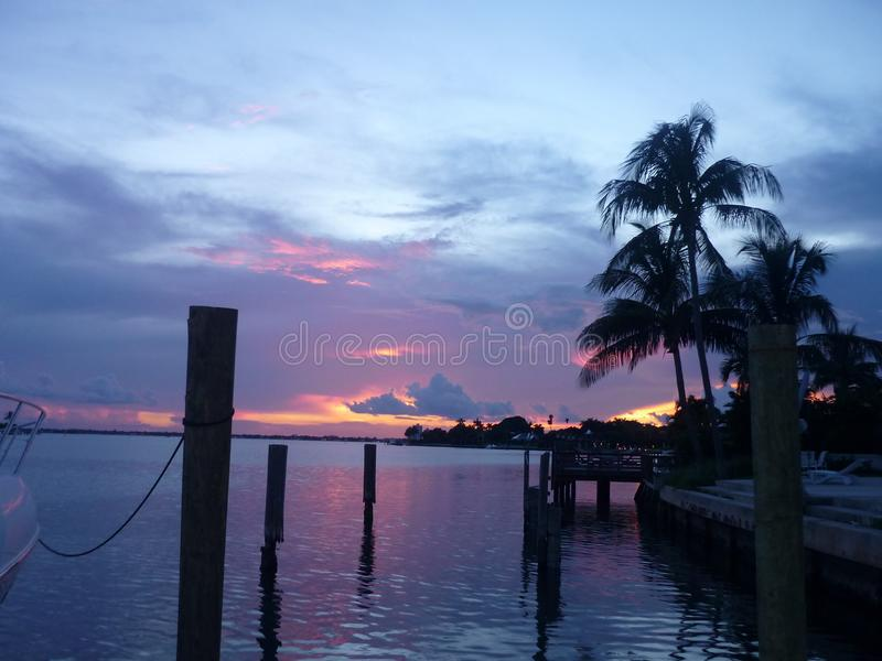 Zmierzch w Miami plaży, usa obraz stock