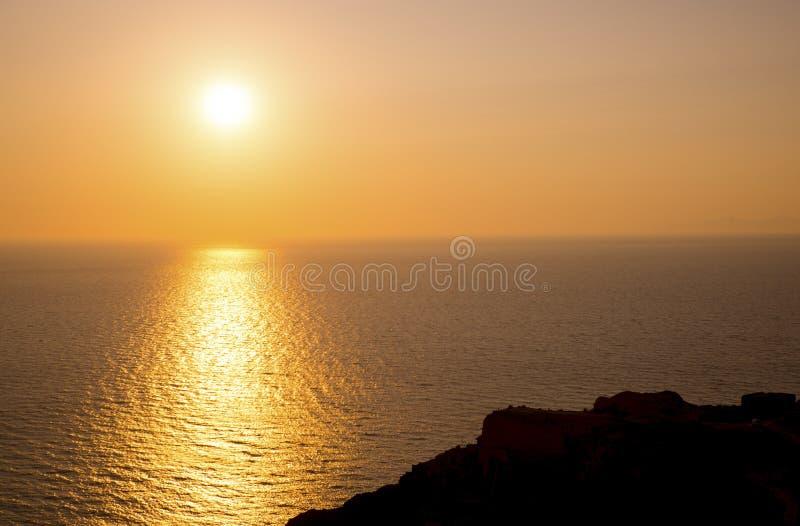 Zmierzch W morzu egejskim fotografia stock
