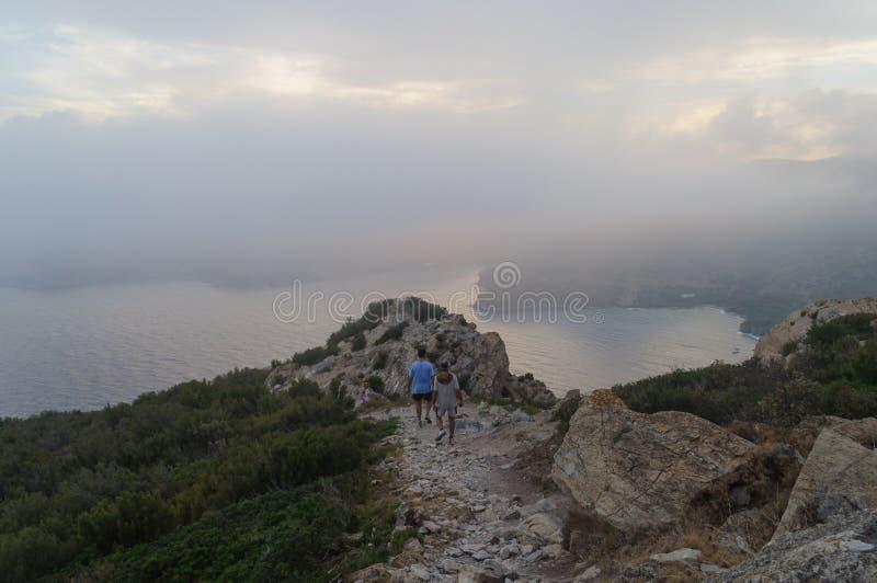 Zmierzch w nakrętce Norfeu, Naturalny park w Costa Brava catalonia fotografia royalty free