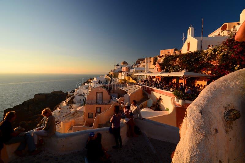 Zmierzch w Oia Santorini, Cyclades wyspy Grecja zdjęcia royalty free