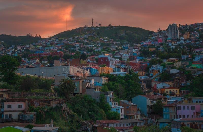 Zmierzch w Valparaiso, Chile fotografia stock
