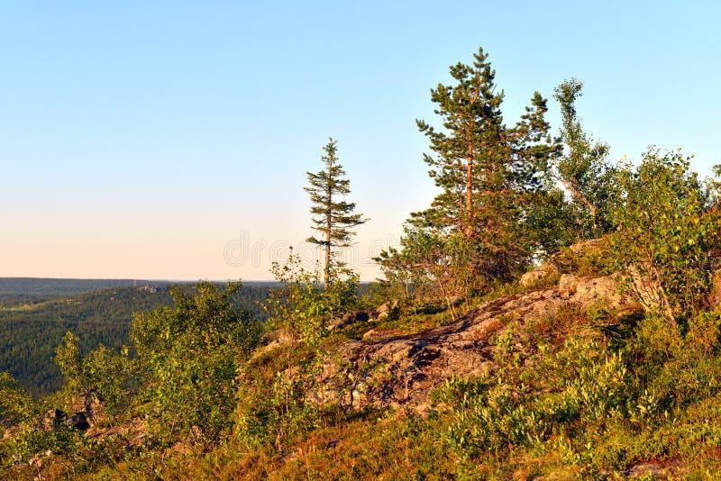 Zmierzch w wzgórzach Fiński Lapland obrazy royalty free