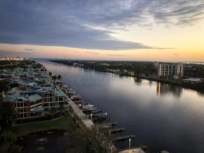 Zmierzch w Zatoka Tampa zdjęcie royalty free