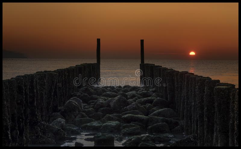 Zmierzch w Zeeland holandie zdjęcie royalty free