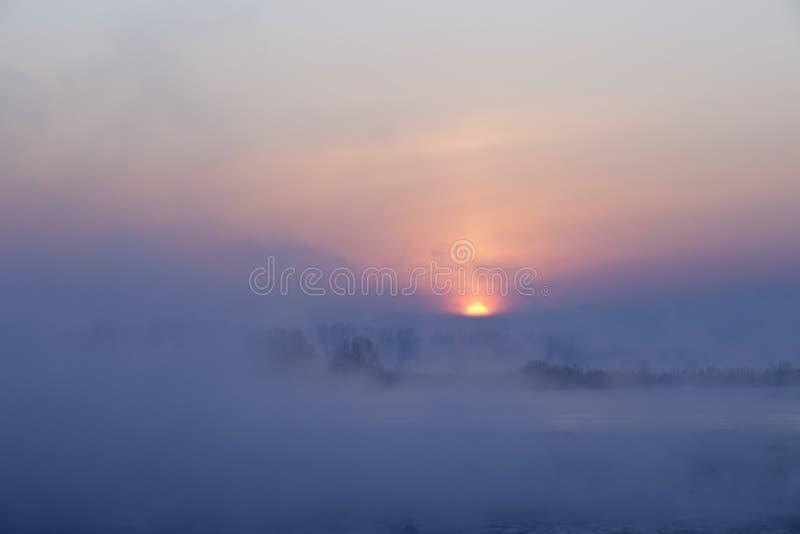 Zmierzch Wschód słońca w Zima/ obraz stock