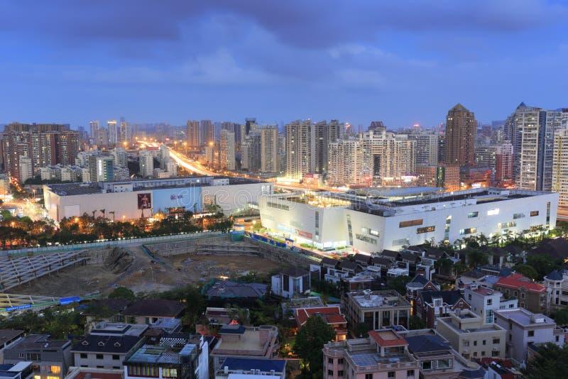 Zmierzch wushipu w Xiamen mieście obraz royalty free