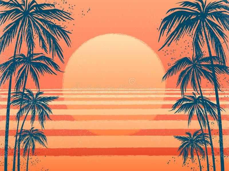 Zmierzch z drzewkami palmowymi, modny różowy tło Wektorowa ilustracja, projekta element dla gratulacj kart, druk ilustracja wektor