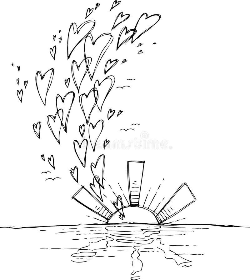 Zmierzch z latającymi sercami royalty ilustracja