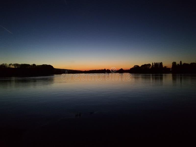 Zmierzch za Bodensee, Niemcy, drzewa, natura, evening obraz royalty free