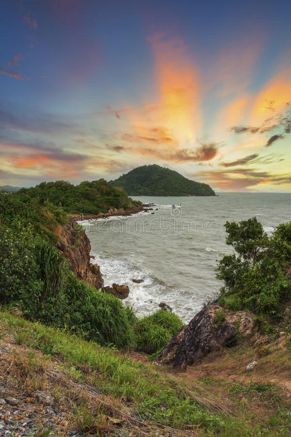 Zmierzchu i plaży morze plaża zdjęcie royalty free