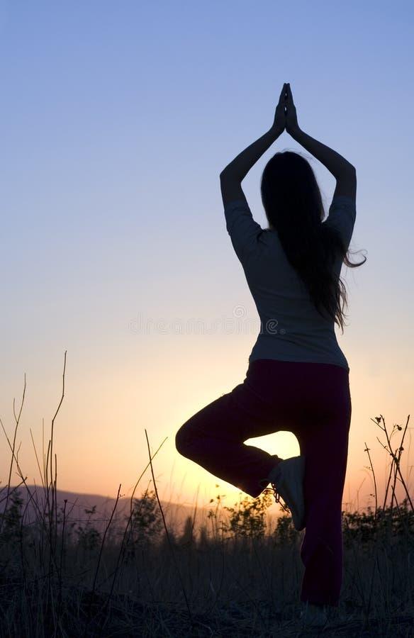 zmierzchu joga obrazy royalty free