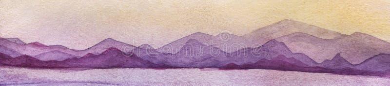 Zmierzchu krajobraz z morzem i górami, w menchii, błękit, kolor żółty ilustracji