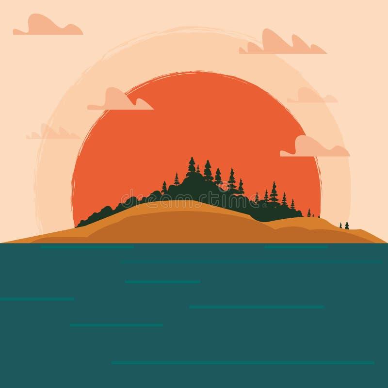 Zmierzchu krajobrazu projekt ilustracji