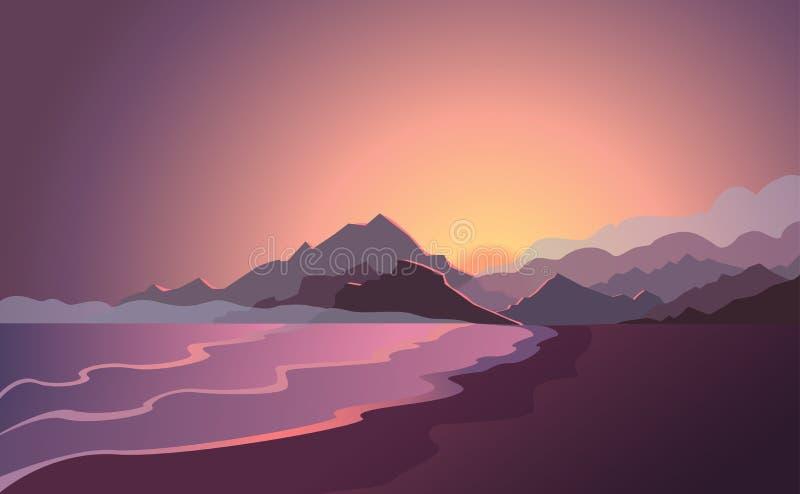 Zmierzchu mieszkania krajobrazu góry i plażowa wektorowa ilustracja royalty ilustracja