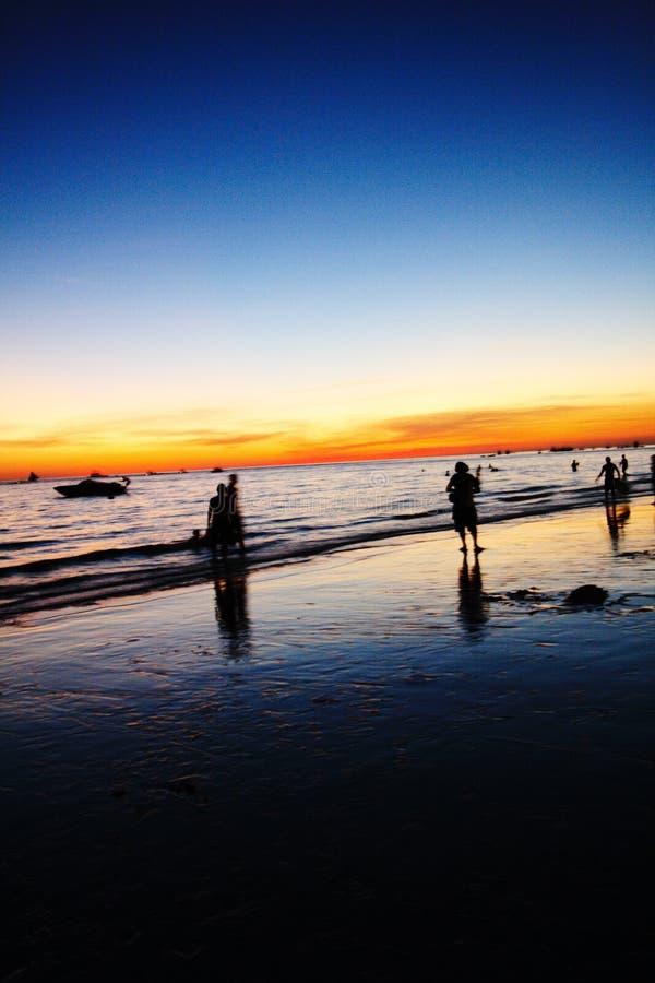 zmierzchu na plaży fotografia stock