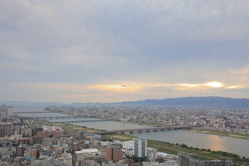 zmierzchu niebo nad Osaka miasta biznesu śródmieściem fotografia royalty free