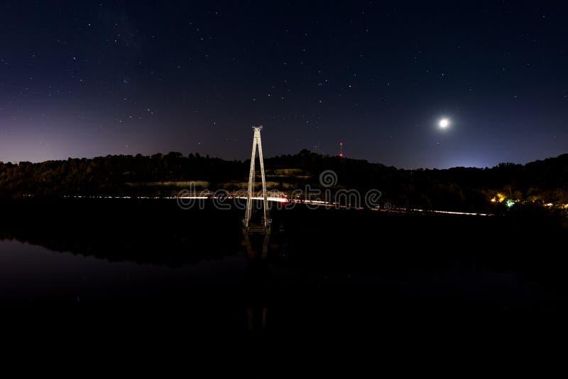 Zmierzchu, nocy scena/rzeka ohio - Ohio & Kentucky - Russell kabel Zostawał zawieszenie most - zdjęcie stock