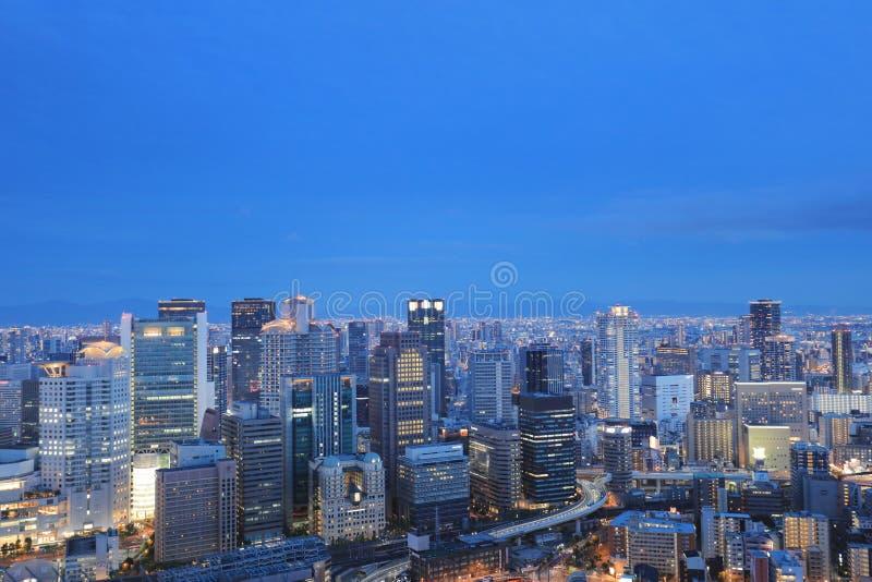 Zmierzchu Osaka miasta śródmieście przy Umeda nieba budynkiem obrazy royalty free
