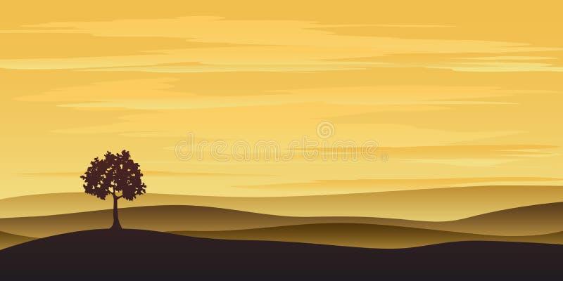 zmierzchu osamotniony drzewo ilustracja wektor