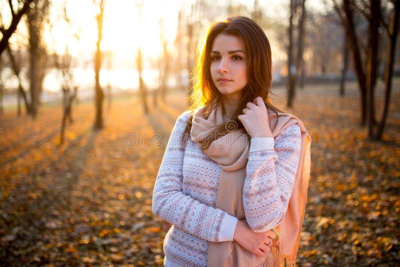 Zmierzchu portret piękna brunetki młoda kobieta w jesień parku fotografia stock