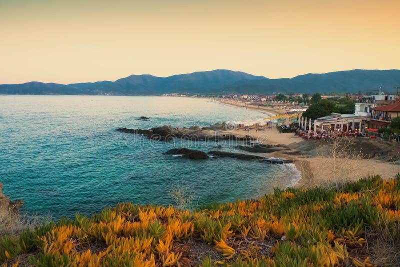 Zmierzchu seashore krajobraz Sarti Grecja zdjęcia stock