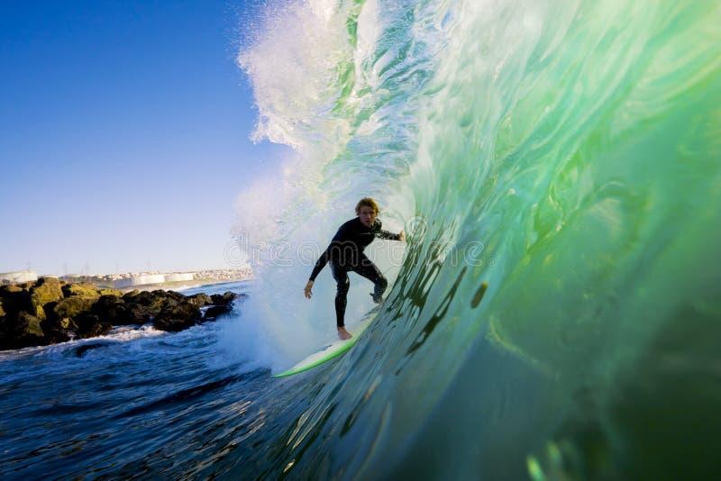 zmierzchu surfingowa fala obrazy stock