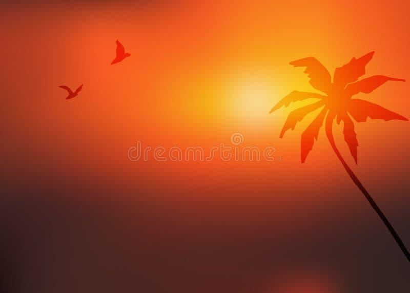 Zmierzchu tło z drzewkiem palmowym i dwa latającymi ptakami Wektor zamazujący krajobraz royalty ilustracja
