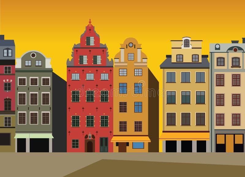 Zmierzchu widok domy na Stortorget kwadracie w Gamla stan w Sztokholm, Szwecja ilustracji
