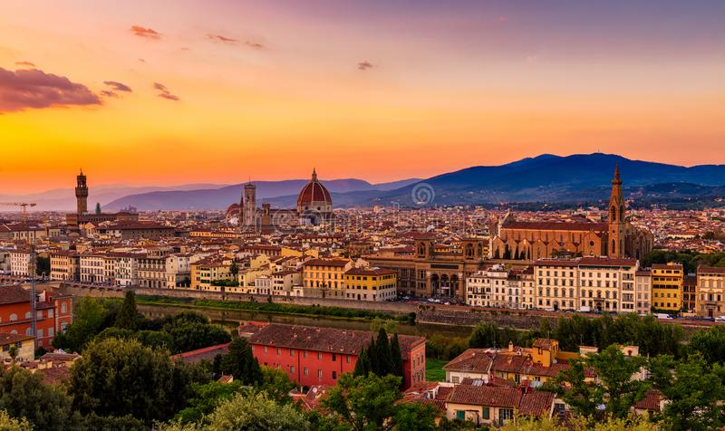 Zmierzchu widok Florencja, Palazzo Vecchio i Florencja Duomo, obrazy royalty free