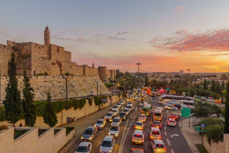 Zmierzchu widok Jerozolimskie miasto ściany i wierza David, zdjęcie stock