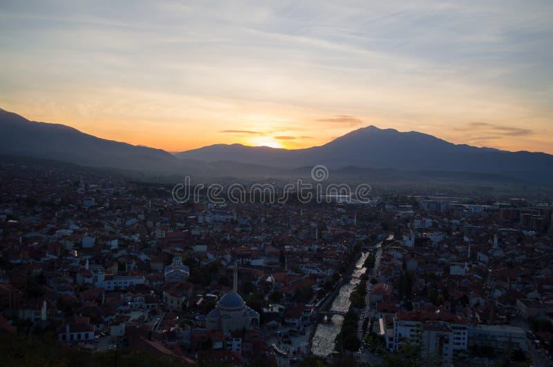 Zmierzchu widok od Prizren fortecy, Kosowo obraz stock