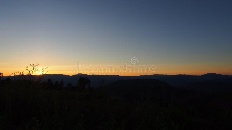 Zmierzchu widok od szczytu górskiego, Chiang Mai Tajlandia obraz stock