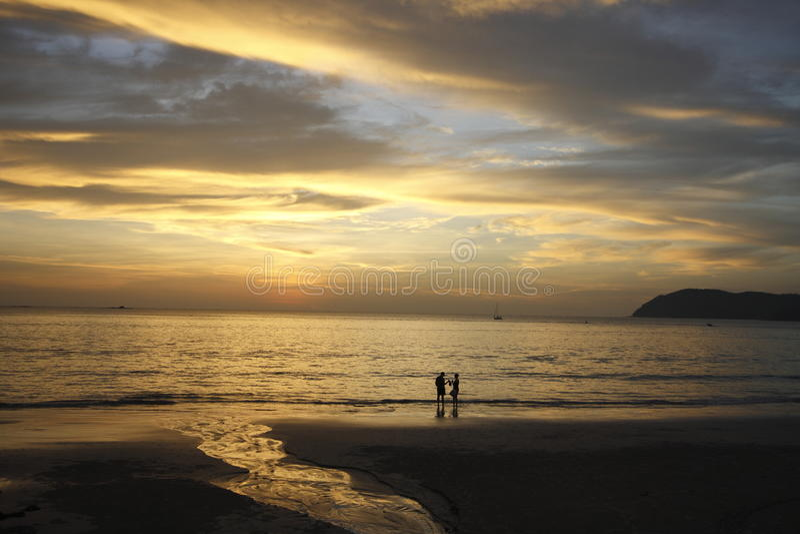 Zmierzchu widok przy Langkawi wyspą, Malezja zdjęcie stock