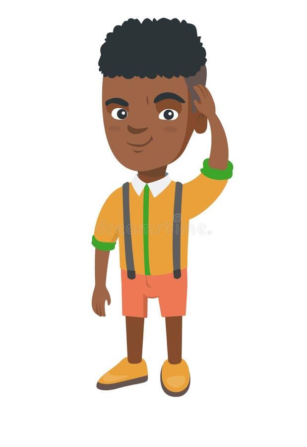 Zmieszana afroamerykańska chłopiec chrobota głowa royalty ilustracja