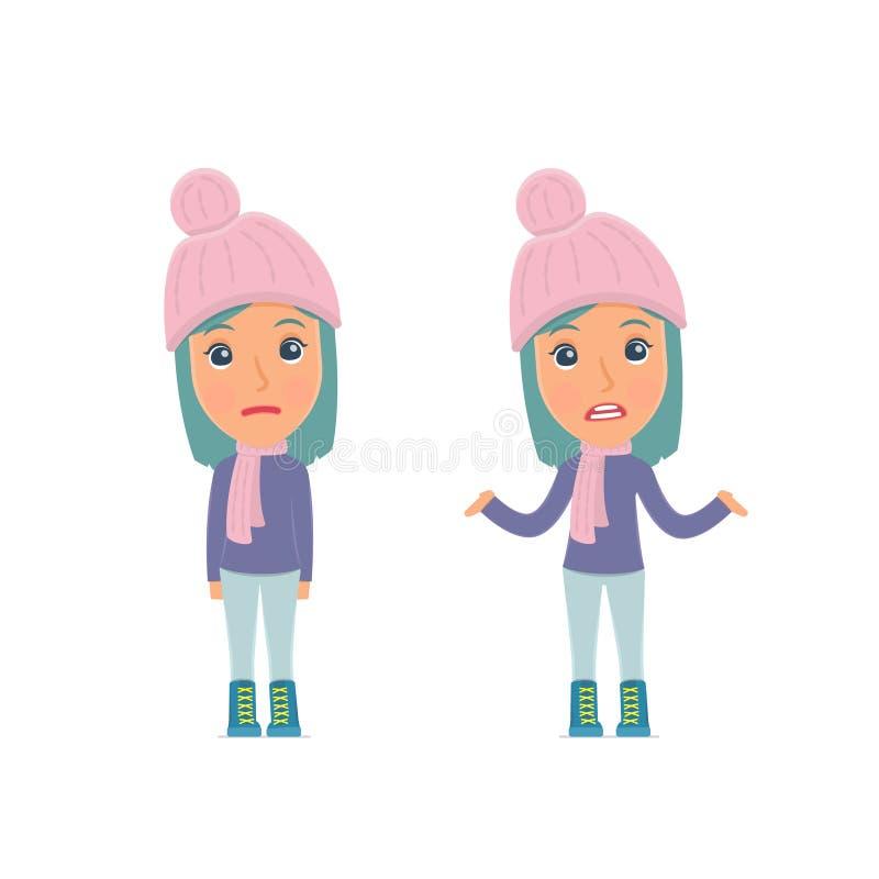 Zmieszana charakter zimy dziewczyna w ignoranci i no zna czego robić royalty ilustracja