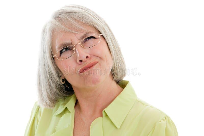 Download Zmieszana dojrzała kobieta obraz stock. Obraz złożonej z sfrustowany - 18142401