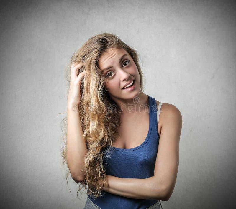Zmieszana dziewczyna fotografia stock