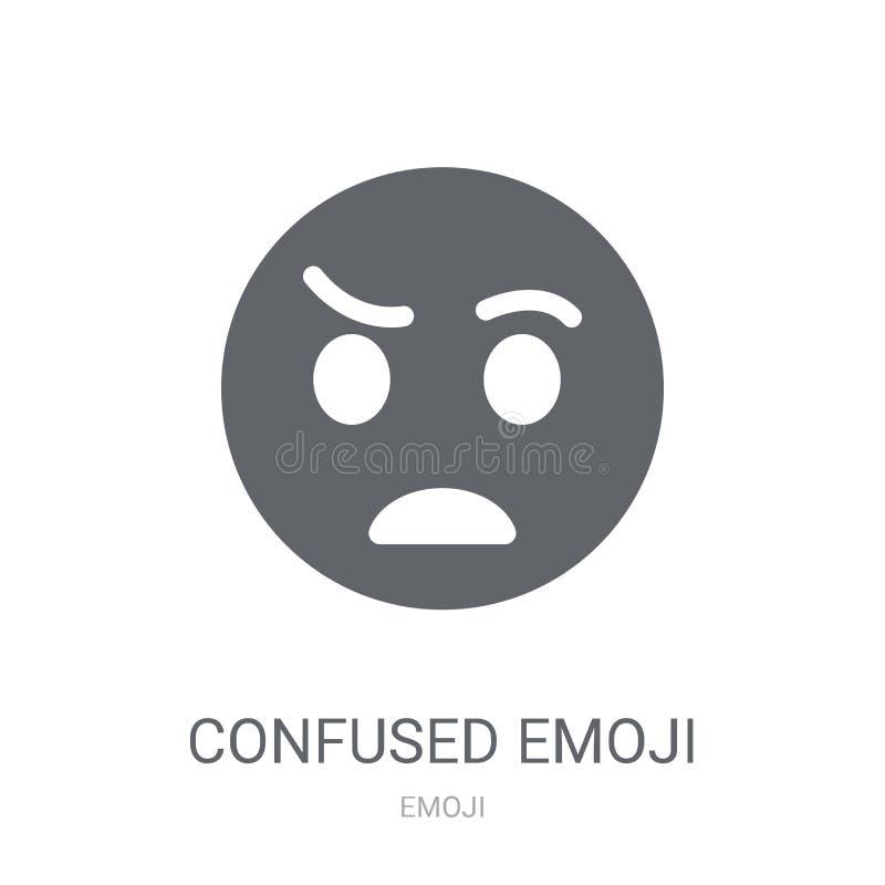 Zmieszana emoji ikona  ilustracja wektor