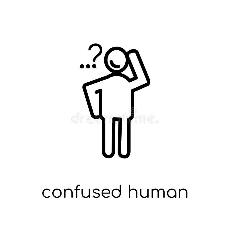 zmieszana ludzka ikona Modny nowożytny płaski liniowy wektor zmieszany h ilustracji